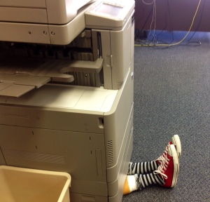 Who needs a house to fall on you when there's a copy machine.  Don't kill the trees or this could happen to you.